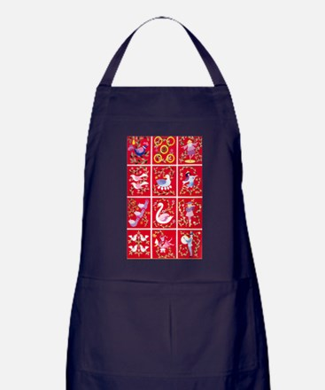 Twelve days of Christmas Apron (dark)