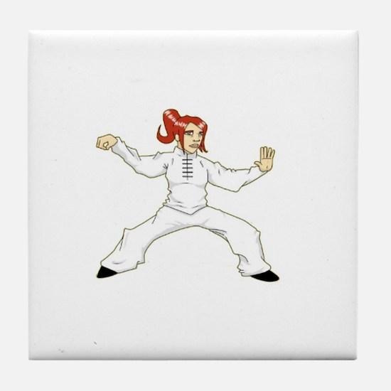 Tai Chi Single Whip Tile Coaster