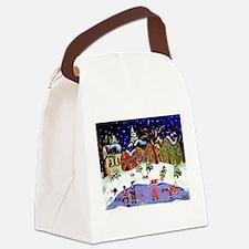 Folk Art Holiday Canvas Lunch Bag