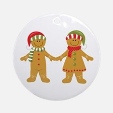 Gingerbread Man Couple Ornament (Round)