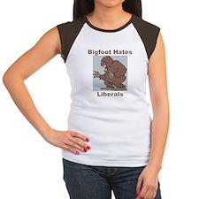 Bigfoot Hates Liberals Women's Cap Sleeve T-Shirt