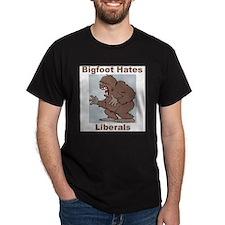 Bigfoot Hates Liberals Black T-Shirt