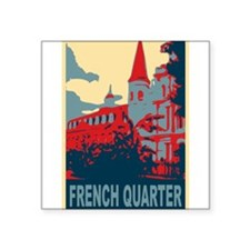 "French Quarter in Red and Blue Square Sticker 3"" x"