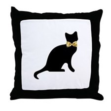 Bow tie Cat Throw Pillow