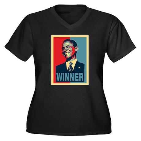 Barack Obama Winner Women's Plus Size V-Neck Dark
