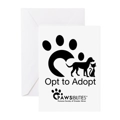 Opt to Adopt black and white Greeting Cards (Pk of