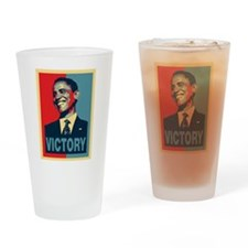 Barack Obama Victory Drinking Glass