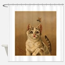 Bee Careful Kitty Shower Curtain