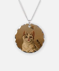Bee Careful Kitty Necklace