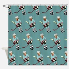 Sock Monkey Ice Hockey Player Shower Curtain