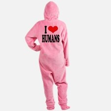 ilovehumansblk.png Footed Pajamas