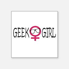 "Geek Girl Square Sticker 3"" x 3"""