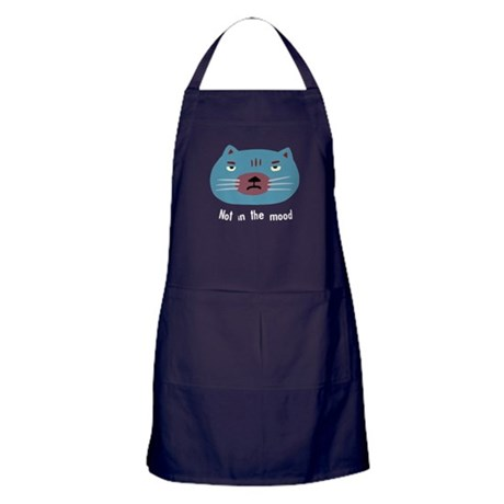 Not in the mood cat blue Apron (dark)