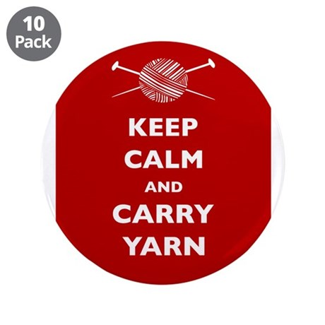 """Keep Calm Carry Yarn 3.5"""" Button (10 pack)"""