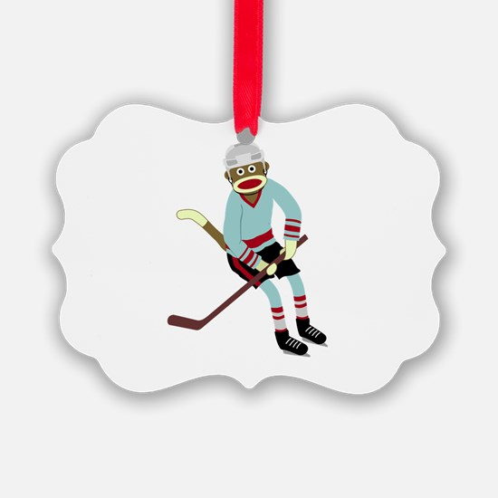 Sock Monkey Ice Hockey Player Ornament
