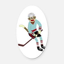 Sock Monkey Ice Hockey Player Oval Car Magnet