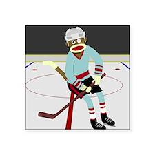 Sock Monkey Ice Hockey Player Square Sticker
