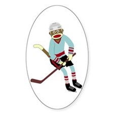 Sock Monkey Ice Hockey Player Decal