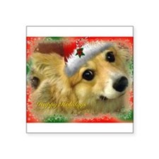 I support Rescue- Happy Holidays Square Sticker 3""