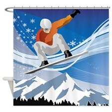 Mountain Snowboarder Shower Curtain