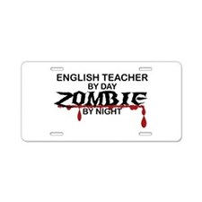 English Teacher Zombie Aluminum License Plate