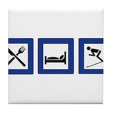 eat sleep ski Tile Coaster