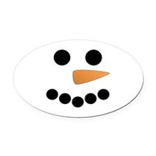 Snowman Face Oval Car Magnet