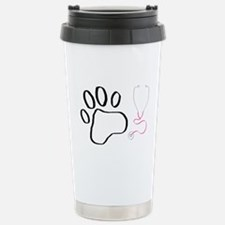 Vet Tech Paw Print + Stethoscope Travel Mug