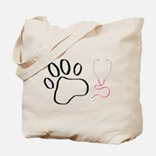 Vet Tech Paw Print + Stethoscope Tote Bag