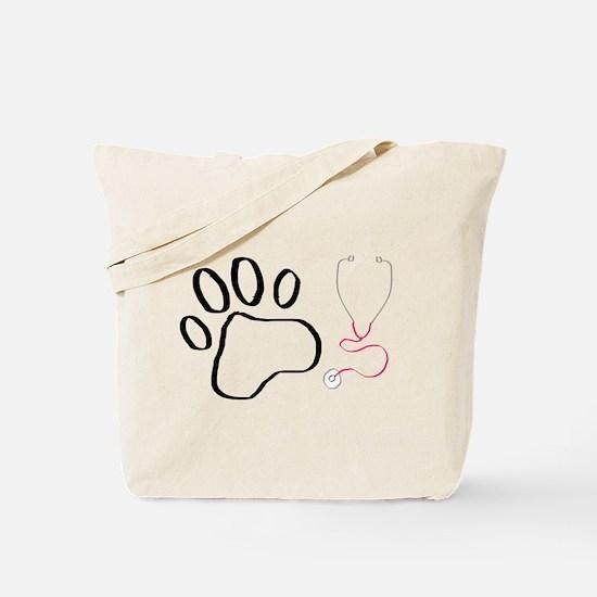 Vet Tech Paw Print + Stethoscope Tote Bag