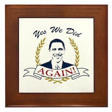Obama Yes We Did Again V2 Color Framed Tile