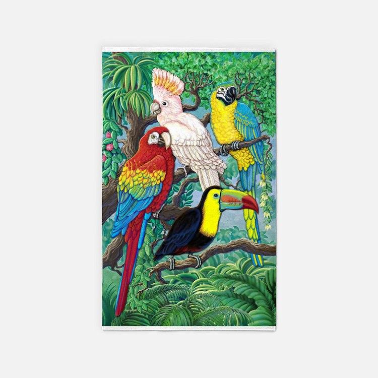 Tropical Birds 3'x5' Area Rug