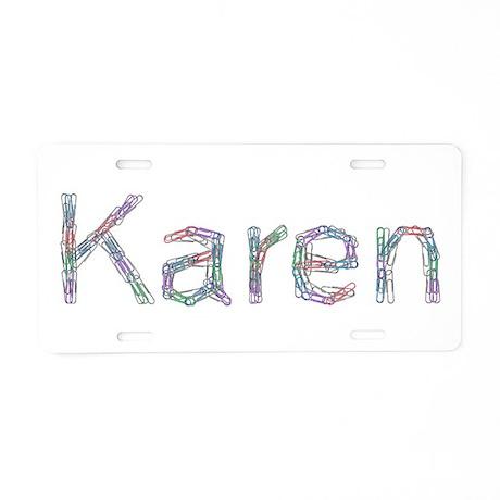 Karen Paper Clips Aluminum License Plate by namestuff