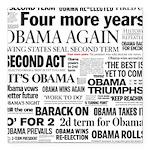 Obama Re-Elected Headline Square Car Magnet 3