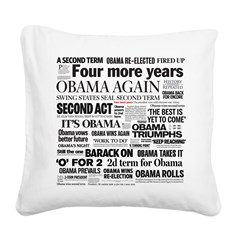 Obama Re-Elected Headline Square Canvas Pillow