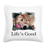 Life is good golden retriever Square Canvas Pillows