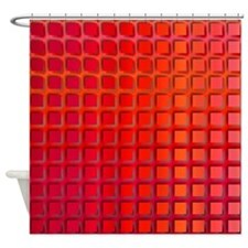 Red Retro Squares Pattern Shower Curtain