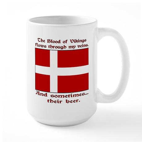Danish Viking & Beer Left Hand Large Mug