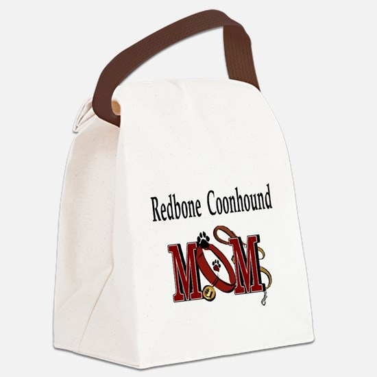 redbone coonhound mom darks.png Canvas Lunch Bag