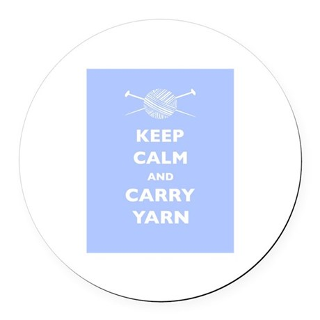 Keep Calm Carry Yarn Round Car Magnet