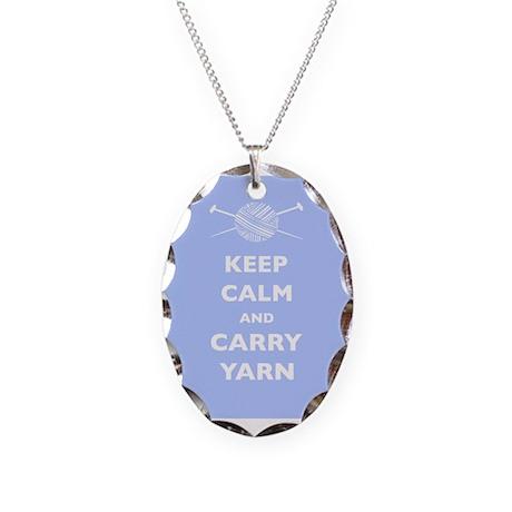 Keep Calm Carry Yarn Necklace Oval Charm