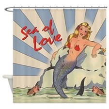 Mermaid Sea of Love Shower Curtain