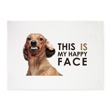 Happy Face Dachshund 5'x7'Area Rug