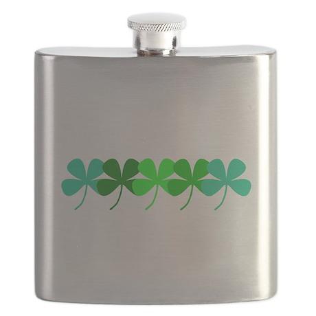 Irish Shamrocks Green Hues Flask