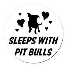 Sleeps with Pit Bulls Round Car Magnet