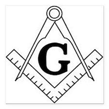 "Freemason Symbol Square Car Magnet 3"" x 3"""