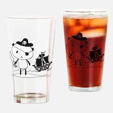 Pirate Panda Drinking Glass