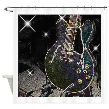 Semiglow Guitar Shower Curtain