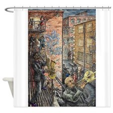 Back Alley Blues Shower Curtain
