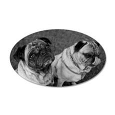 Pug Pals in Black and White Wall Decal